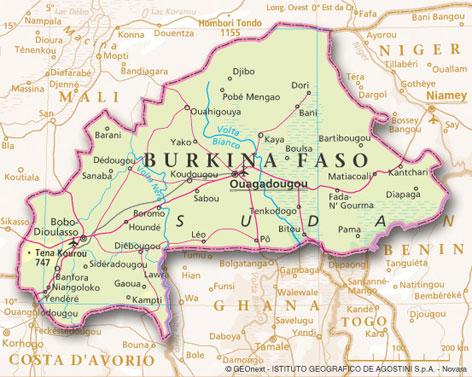 Mappa del Burkina Faso